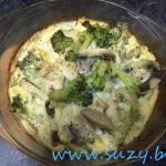 Pui cu ciuperci si brocoli la cuptor